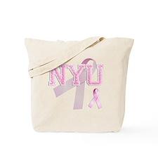 NYU initials, Pink Ribbon, Tote Bag