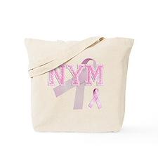 NYM initials, Pink Ribbon, Tote Bag