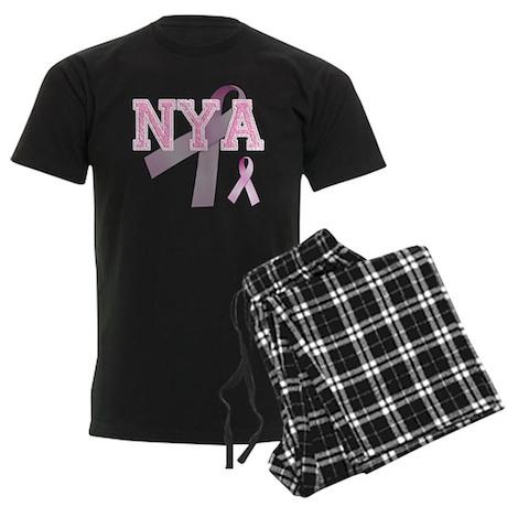 NYA initials, Pink Ribbon, Men's Dark Pajamas