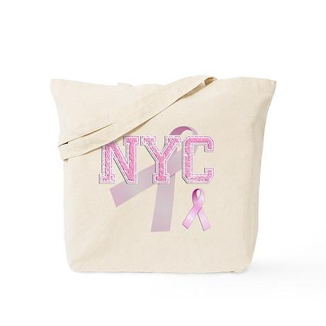 NYC initials, Pink Ribbon, Tote Bag