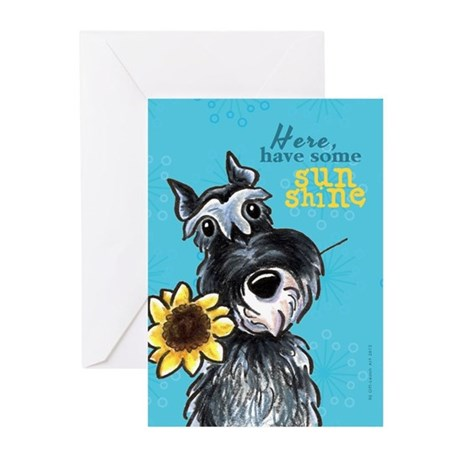 Schnauzer Sunflower Cheer Up Greeting Cards (Pk of