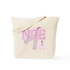 NOE initials, Pink Ribbon, Tote Bag