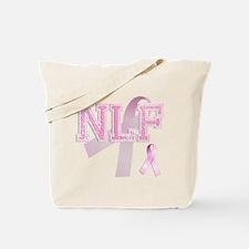 NLF initials, Pink Ribbon, Tote Bag