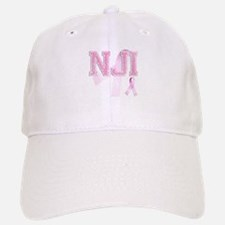 NJI initials, Pink Ribbon, Baseball Baseball Cap