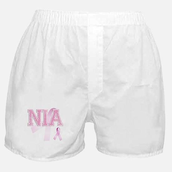 NIA initials, Pink Ribbon, Boxer Shorts