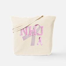 NHJ initials, Pink Ribbon, Tote Bag