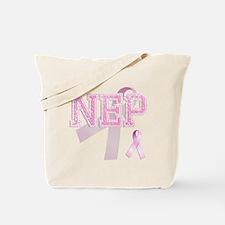 NEP initials, Pink Ribbon, Tote Bag