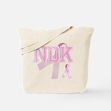 NDK initials, Pink Ribbon, Tote Bag