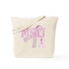 MSU initials, Pink Ribbon, Tote Bag