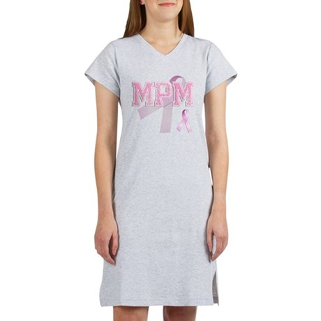 MPM initials, Pink Ribbon, Women's Nightshirt