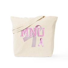 MNU initials, Pink Ribbon, Tote Bag