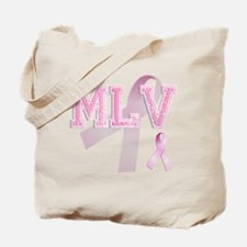 MLV initials, Pink Ribbon, Tote Bag