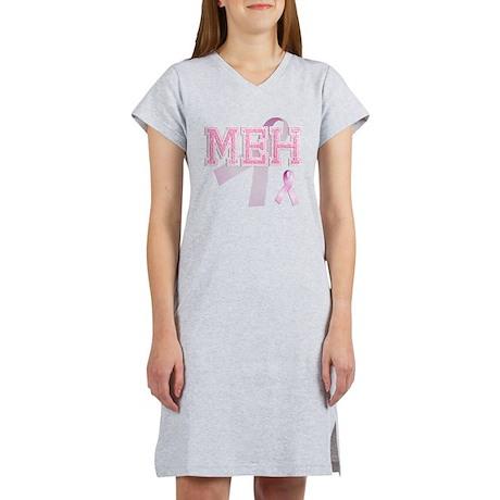 MEH initials, Pink Ribbon, Women's Nightshirt