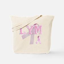 LYM initials, Pink Ribbon, Tote Bag