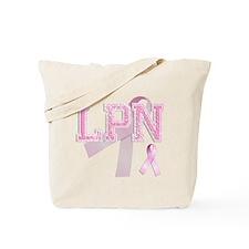 LPN initials, Pink Ribbon, Tote Bag