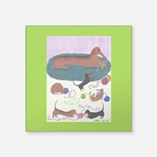 "Knitting Dachshund Square Sticker 3"" x 3&quot"