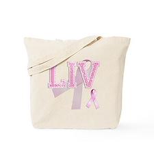 LIV initials, Pink Ribbon, Tote Bag