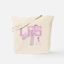 LFS initials, Pink Ribbon, Tote Bag