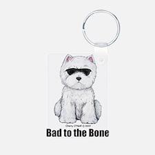 Bad to the Bone Westie! Aluminum Photo Keychain