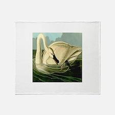 Trumpeter Swan Feeding in Wake Throw Blanket