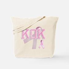 KOK initials, Pink Ribbon, Tote Bag