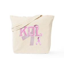 KOL initials, Pink Ribbon, Tote Bag