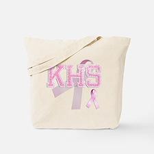 KHS initials, Pink Ribbon, Tote Bag