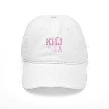 KHJ initials, Pink Ribbon, Baseball Baseball Cap