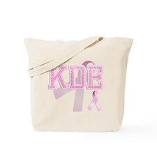KDE initials, Pink Ribbon, Tote Bag