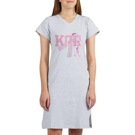 KCR initials, Pink Ribbon, Women's Nightshirt