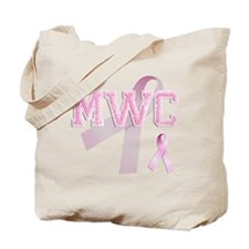 MWC initials, Pink Ribbon, Tote Bag