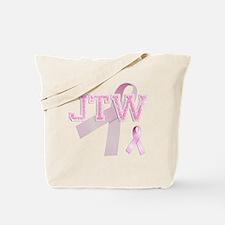JTW initials, Pink Ribbon, Tote Bag