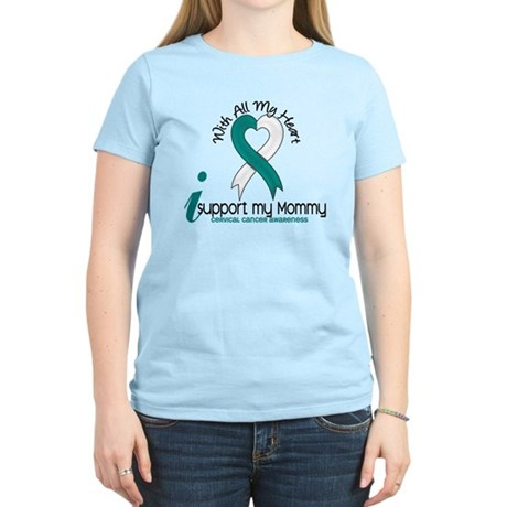 With All My Heart Cervical Cancer Women's Light T-