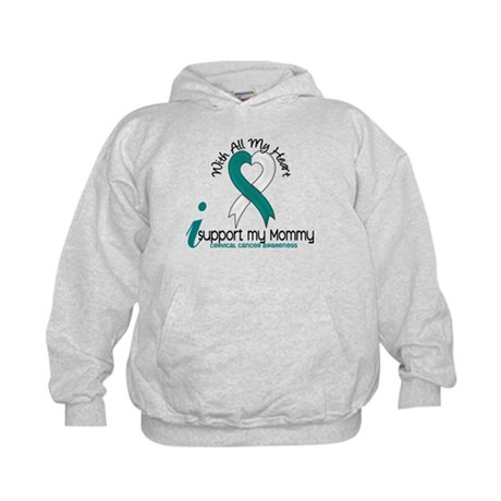 With All My Heart Cervical Cancer Kids Hoodie