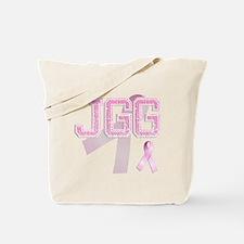 JGG initials, Pink Ribbon, Tote Bag