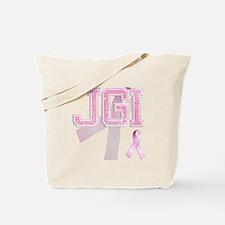 JGI initials, Pink Ribbon, Tote Bag