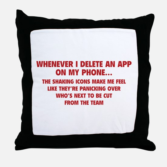 Delete An App Throw Pillow