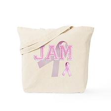 JAM initials, Pink Ribbon, Tote Bag