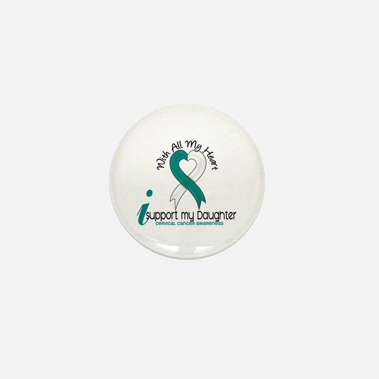 With All My Heart Cervical Cancer Mini Button