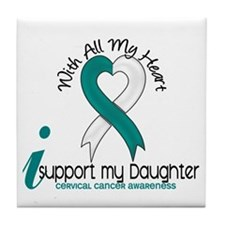 With All My Heart Cervical Cancer Tile Coaster