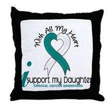 With All My Heart Cervical Cancer Throw Pillow