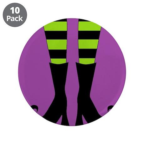 "Halloween Witch Feet 3.5"" Button (10 pack)"