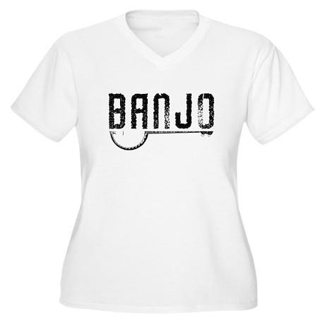 Retro Banjo Women's Plus Size V-Neck T-Shirt