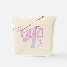 HOJ initials, Pink Ribbon, Tote Bag