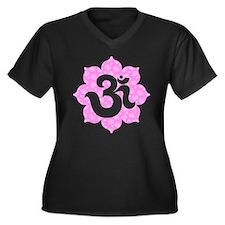 YogaGlam.com Om Lotus Women's Plus Size V-Neck Dar