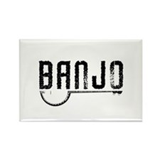 Retro Banjo Rectangle Magnet
