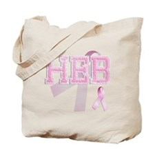 HEB initials, Pink Ribbon, Tote Bag