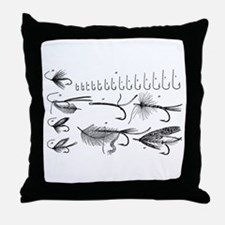 Vintage Hook and Fly Collection Throw Pillow