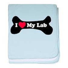 I Love My Lab - Dog Bone baby blanket