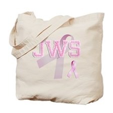 JWS initials, Pink Ribbon, Tote Bag